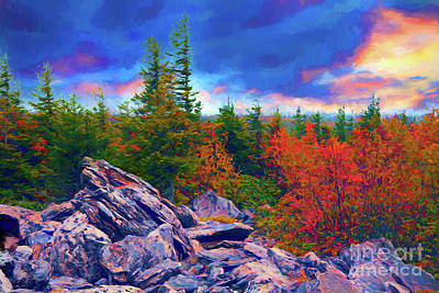 Painting - Autumn Fall Colors - Stormy Sunrise At Bear Rocks Ap by Dan Carmichael