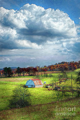 Digital Art - Autumn Fall Colors - Sunny Blue Ridge Barn Ap by Dan Carmichael