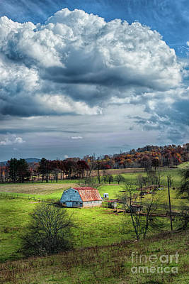 Photograph - Autumn Fall Colors - Sunny Blue Ridge Barn by Dan Carmichael