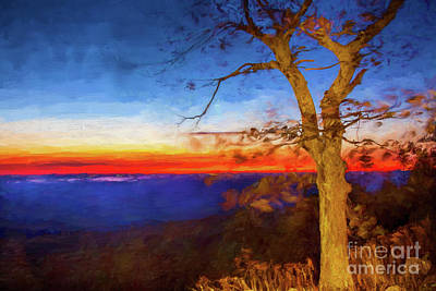 Digital Art - Autumn Fall Colors - Windy Tree At Sunrise Ap by Dan Carmichael