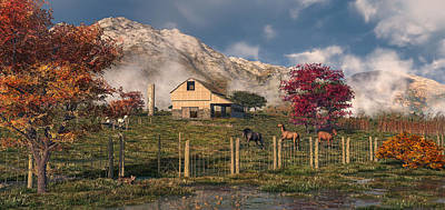 Digital Art - Autumn Farm by Mary Almond