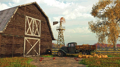 Digital Art - Autumn Farm Scene by Jayne Wilson