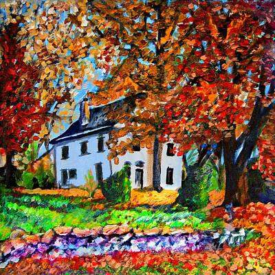 Autumn Farmhouse Art Print by Laura Heggestad