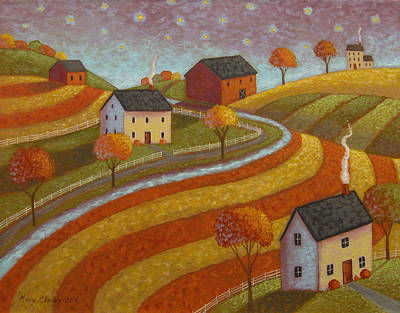 Farm Scene Painting - Autumn Farmland by Mary Charles