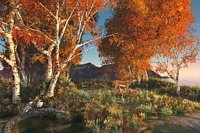 Digital Art - Autumn Fawns by Mary Almond