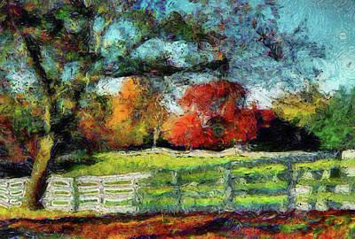 Autumn Field On The Farm Art Print