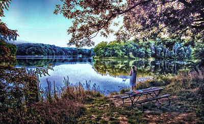 Autumn Fishing At Argyle Lake Art Print