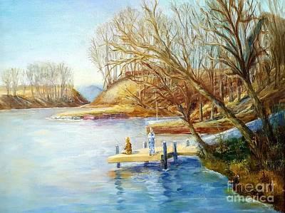 Autumn Fishing At The Lake Art Print