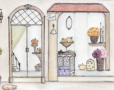 Mixed Media - Autumn Flower Shop by Christine Corretti