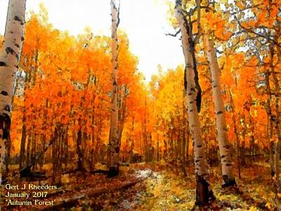 Sun Rays Painting - Autumn Forest L A by Gert J Rheeders