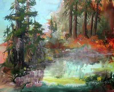 Painting - Autumn Forest Pond by Sherry Shipley