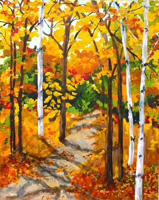 Painting - Autumn Forest Trail by Diane Arlitt