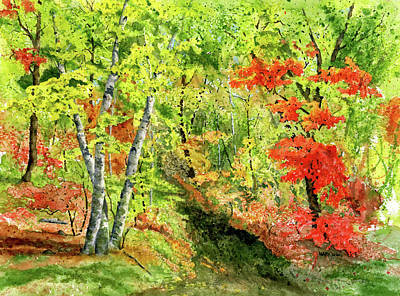 Red Abstract Painting - Autumn Fun by Mary Tuomi