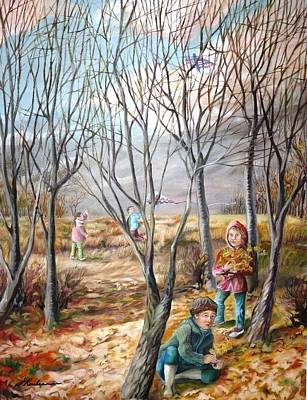 Painting - Autumn Games - Jeux D'automne by Therese Rouleau