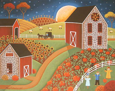 Pumpkins Painting - Autumn Garden by Mary Charles
