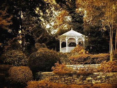 Fall Bushes Digital Art - Autumn Gazebo by Jessica Jenney