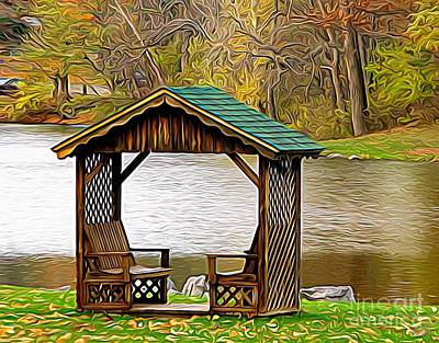 Photograph - Autumn Gazebo Scene Green Lake Expressionist Effect by Rose Santuci-Sofranko