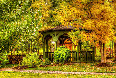 Autumn Gazebo Print by TL  Mair