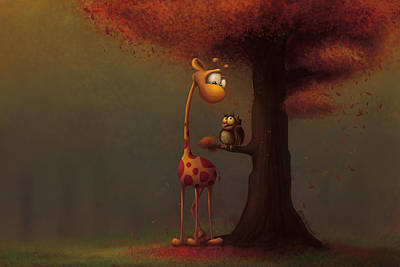 Digital Art - Autumn Giraffe by Tooshtoosh