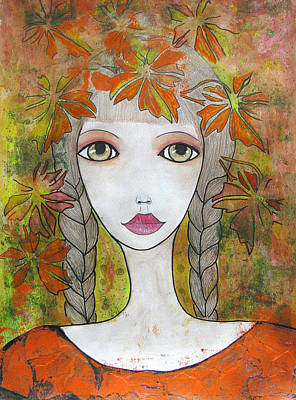 Drawing - Autumn Girl  by Riana Van Staden