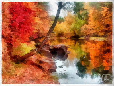 Painting - Autumn Glory Pond by Earl Jackson