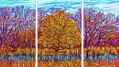 Digital Art - Autumn Glory - Triptych by Joel Bruce Wallach