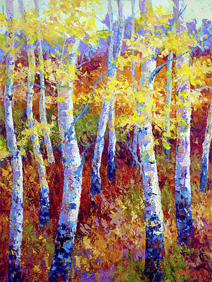 Birch Tree Painting - Autumn Gold by Marion Rose
