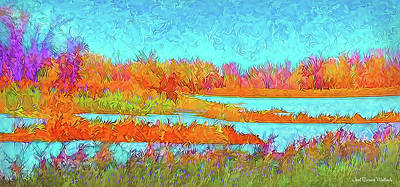 Art Print featuring the digital art Autumn Grassy Meadow With Floating Lakes by Joel Bruce Wallach