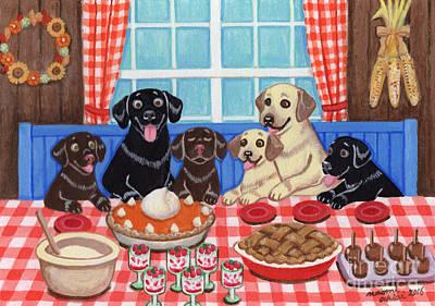 Chocolate Labrador Retriever Painting - Autumn Harvest Labrador Family by Naomi Ochiai