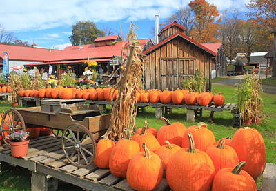 Farmstand Photograph - Autumn Harvest Pumpkins And Sugar House by John Burk