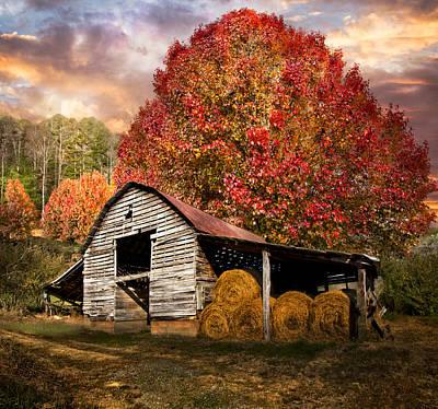 Autumn Hay Barn Art Print