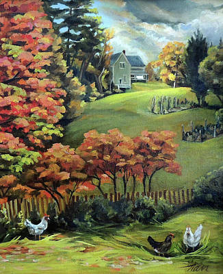 Painting - Autumn Hills In Vermont Detail by Nancy Griswold