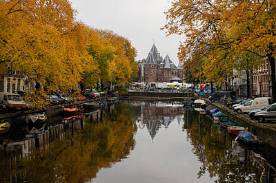 Photograph - Autumn In Amsterdam - Peaceful Golden Symmetry by Georgia Mizuleva