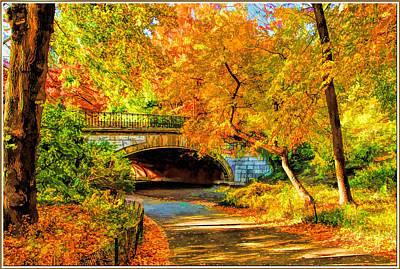 Autumn In Central Park  Art Print by Geraldine Scull