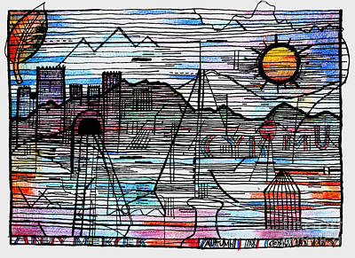 North Wales Drawing - Autumn In Conwy  by Andy  Mercer