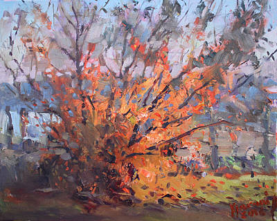 Laundry Painting - Autumn In Late Evening by Ylli Haruni
