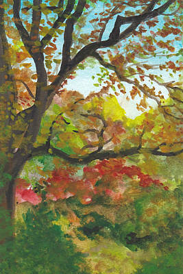 Fall Painting - Autumn In Mccrillis Gardens by Lin-Lin Mao
