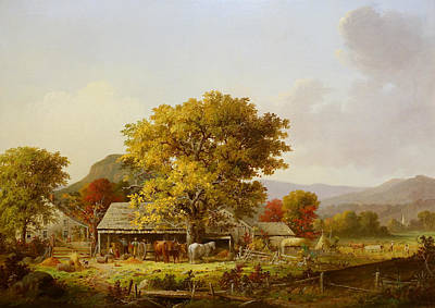 Autumn In New England Painting - Autumn In New England, Cider Making by George Henry Durrie