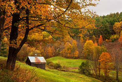 Country Scenes Photograph - Autumn In New England - Sugarhouse And Barns In Fall by Joann Vitali