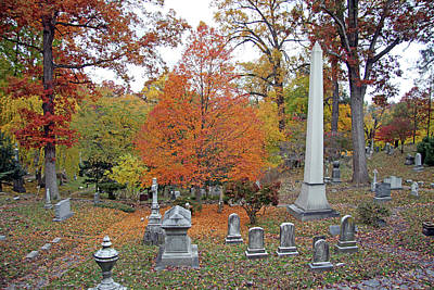 Photograph - Autumn In Oak Hill Cemetery by Cora Wandel
