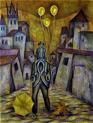 Drawing - Autumn In Prague. Visiting  Franz Kafka by Anna Duyunova