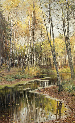 Painting - Autumn In The Birchwood by Peder Monsted