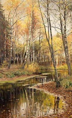 Autumn Leaf On Water Painting - Autumn In The Birchwood by Mountain Dreams