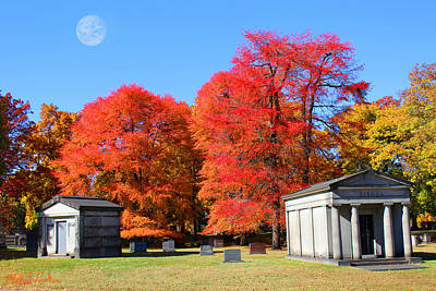 Burial Grounds Painting - Autumn In The Cemetery by Michael Rucker