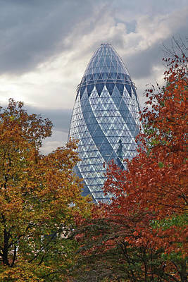 Photograph - Autumn In The City - The Gherkin London by Gill Billington