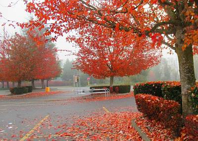 Photograph - Autumn In The Fred Meyer Parking Lot by Karen Molenaar Terrell