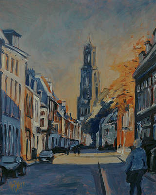 Painting - Autumn In The Lange Nieuwstraat Utrecht by Nop Briex