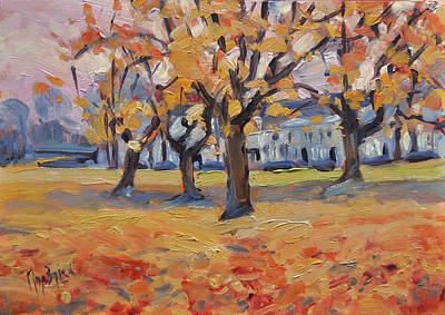 Painting - Autumn In The Villa Park Maastricht by Nop Briex