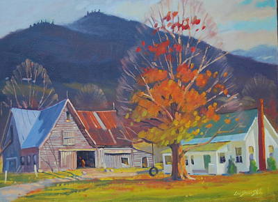 Farm And Barns Painting - Autumn In Vermont by Len Stomski