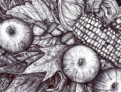 Fallen Leaf Drawing - Autumn Is Here by Shana Rowe Jackson